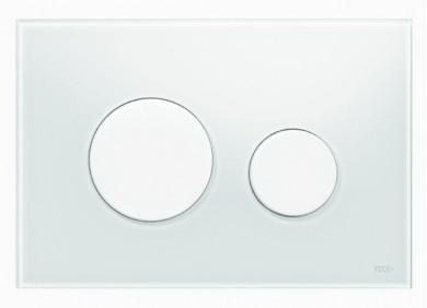 Активатор LOOP GLASS с пластмасови бутони бели и стъклен панел от бяло стъкло