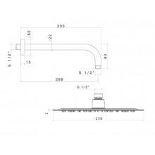Душ система за вграждане Slate черен мат с отделен държач - Vema
