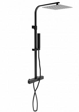 Душ колона квадратна с термостатен смесител черен мат - NEWFORM