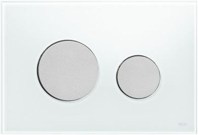 Активатор LOOP GLASS с пластмасови бутони матиран хром и стъклен панел бяло стъкло