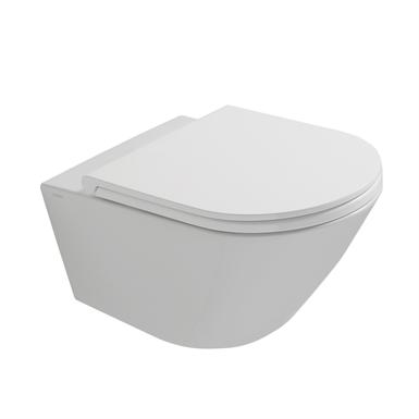 Окачена тоалетна чиния FORTY3 БЕЗ РЪБОВЕ с капак плавно затваряне TAKE-OFF